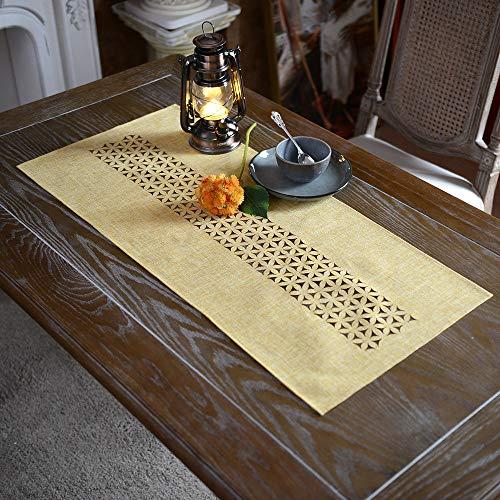 ARTABLE Exquisita tela de lino mantel con patrón de corte láser gris y amarillo opcional (amarillo, 40 x 90 cm)