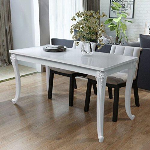 Table de salle à manger 116 x 66 x 76 cm Blanc haute brillance convient maison