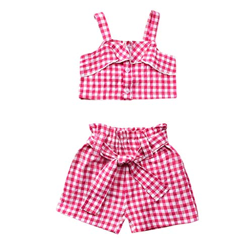 Voberry- Costume enfant Short chemisier à carreaux Toddler Kids Baby Girls Strap Shirt Tops Plaid Bow Shorts Outfits Set