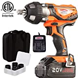 "4Ah Battery Impact Wrench 1/2"" Cordless Impact Wrench 20V Portable Compact Impact Gun with 4Pcs..."