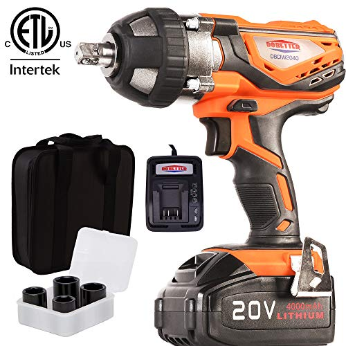 """4Ah Battery Impact Wrench 1/2"""" Cordless Impact Wrench 20V Portable Compact Impact Gun with 4Pcs Sockets, Carry Bag, 4A Li-ion Battery and Fast Charger, Dobetter-DBCIW2040"""