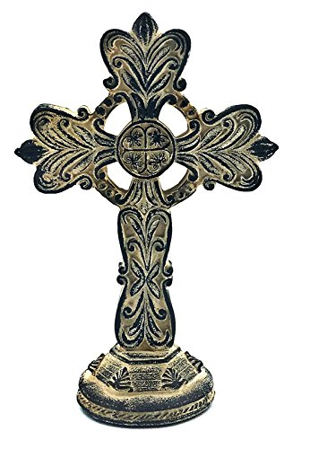 Bellaa 22687 Celtic Cross Garden Statue God Blessings 8 inch