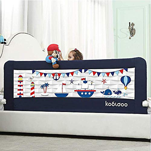 59 Inches Toddler Bed Rail Fold Down Safety Baby Bed Guard with NBR Foam Including 1 Pc Safety Strap...