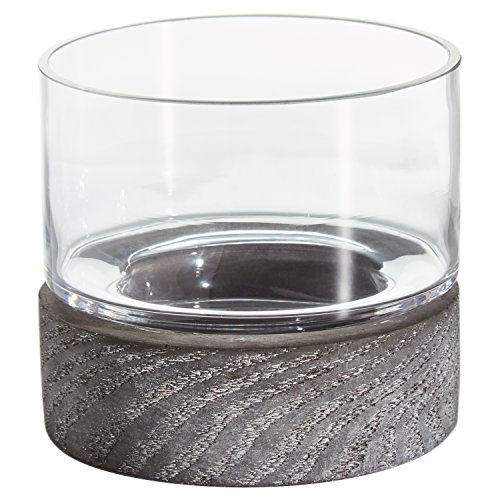 Amazon Brand – Rivet Mid-Century Modern Concrete and Glass Decor Candle Holder, 4'H, Grey