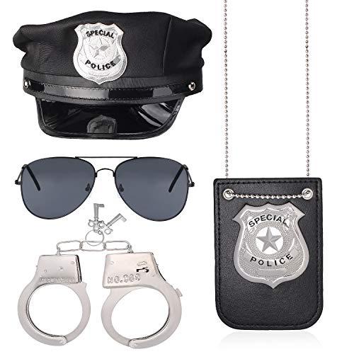 Haichen Police Costume Accessory Set Poliziotto Cappello Manette Occhiali da Sole Distintivo da Poliziotto