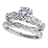1/2 Ct. Halo Diamond Engagement Bridal Ring Set 10K Solid White Gold...