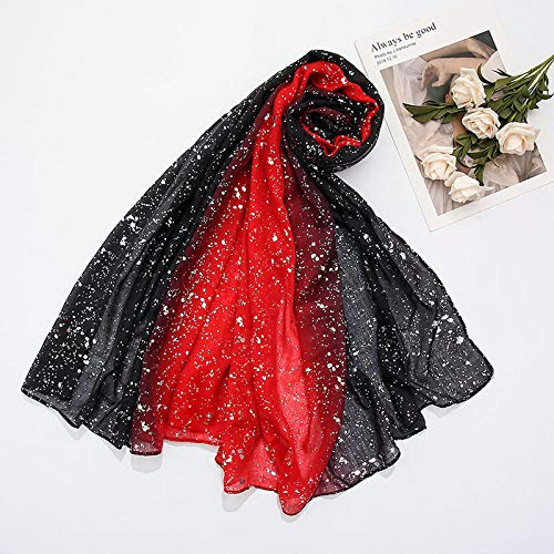 ZHUJ Bufandas de Manta a Cuadros para Mujer Bufandas largas Bufanda de otoño e Invierno Chal para Mujer Color Degradado Bufanda de algodón para Mujer 6-9# Vino Rojo_180m