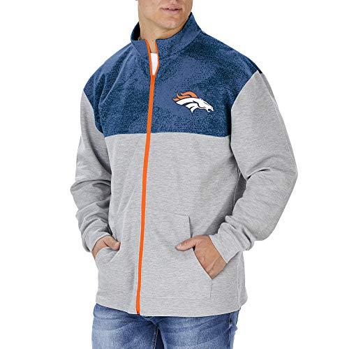 Zubaz NFL Denver Broncos Herren-Trainingsjacke, durchgehender Reißverschluss, Grau, Größe XL