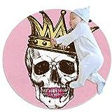 laire Daniel King of Death Skull Crown - Manta para Juegos de bebé, diseño Circular de cráneo, para bebé, Multi01, 70x70cm/27.6x27.6IN