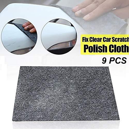 Paño de reparación de rasguños de automóviles, removedor de rasguños de automóviles de usos múltiples, paño polaco reutilizable Nano Magic Scratch para reparación de rasguños de superficie (9PCS)