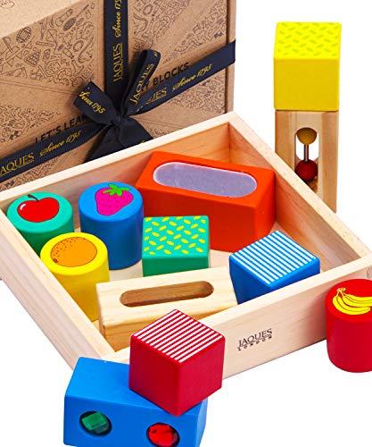 Jaques de Londres Descubrimiento Bloques de Madera - Juguete Ideal para Aprender, Juguete Educativo Montessori y Juego sensorial para niños - Rompecabezas de Madera 1795