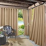 Sun Zero 48961  Beacon Woven Indoor/Outdoor UV Protectant Grommet Curtain Panel, 52' x 95', Linen