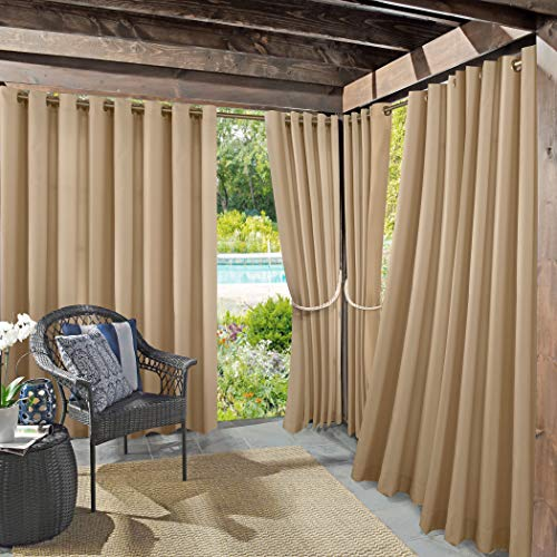 "Sun Zero 48961 Beacon Woven Indoor/Outdoor UV Protectant Grommet Curtain Panel, 52"" x 95"", Linen"