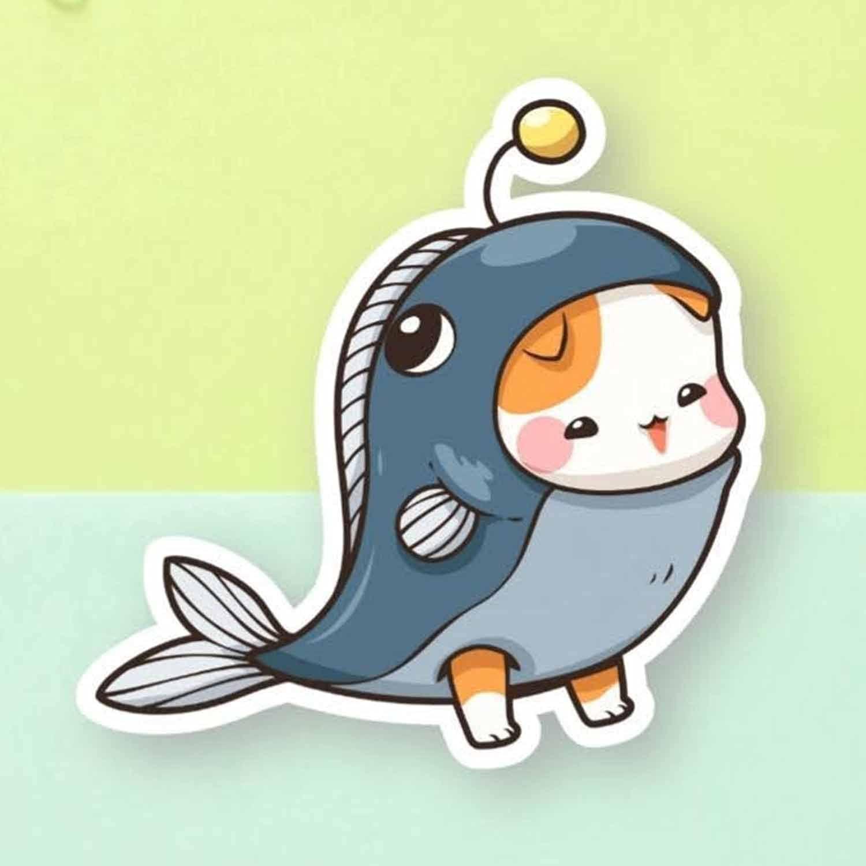 Cat Sticker Cute Fish Sale item Choice Vinyl Laptop Funny for Fri