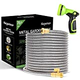 """kegemor Garden Hose 75 ft-Metal Water Hose -Flexible Lightweight Outdoor Yard Strong Durable Heavy Duty 304 Stainless Steel Hose Pipe with 10-Way Nozzle, Solid 3/4"""" Brass Connectors, No Kink Hose"""