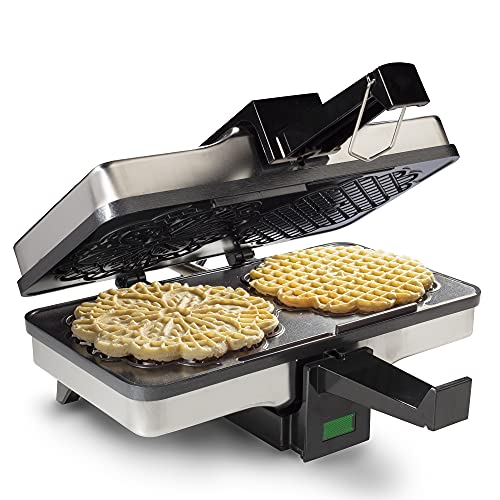 Pizzelle Maker- Non-stick Electric Pizzelle Baker Press Makes Two 5-Inch Cookies at Once- Recipes Included