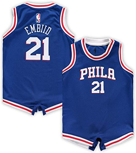Outerstuff NBA Infants Official Name and Number Home Alternate Road Player Bodysuit Romper Jersey (18 Months, Joel Embiid Philadelphia 76ers Blue Icon Edition)
