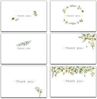Thank You Cards - Floral Design Thank You Notes for Your Wedding, Baby Shower, Business, Anniversary, Bridal Shower - 30 Watercolor Cards with Envelopes -4 x 6 Size- Blank Inside