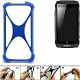 K-S-Trade® Handyhülle Für Ruggear RG730 Silikon Schutz Hülle Cover Case Bumper Silikoncase TPU Softcase Schutzhülle Smartphone Stoßschutz, Blau (1x),
