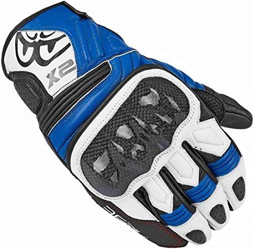 Berik NexG - Guantes cortos de piel para motocicleta (negro/blanco/azul, XL)