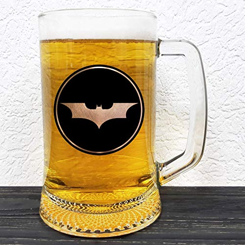 Batman Glass Beer Mug - DC Comics Gift - Groomsman Beer Stein - Gift For Him - Personalized Beer Mug Glass - Gift For Men Who Have Everything