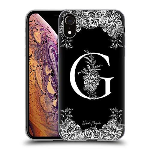 Head Case Designs Oficial Nature Magick Letra G B & W Monogram Flores 1 Carcasa de Gel de Silicona Compatible con Apple iPhone XR