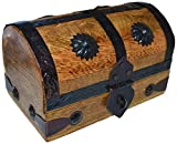 Mini Pirate's Treasure Chest Wooden Nautical Jewelry Box, Wood with Iron Accents, Hinged Lid, 5 Inches Long by SciencePurchase