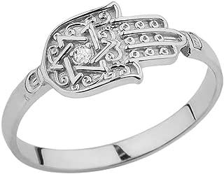 Unique Sterling Silver Diamond Hamsa Hand Ring