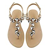 Mayou Women's Rhinestone Flat Sandals, Women Flip Flops with Beadeed Rhinestone Crystal Jeweled Sandal Shoes for Summer Beach Oceanside Holiday Outdoor (10.5 M US, Off-White)