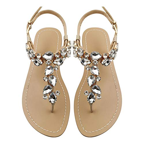 Mayou Women's Rhinestone Flat Sandals, Women Flip Flops with Beadeed Rhinestone Crystal Jeweled Sandal Shoes for Summer Beach Oceanside Holiday Outdoor (8 M US, Off-White)