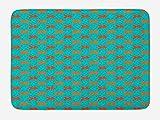 ABAKUHAUS Pez de Colores Tapete para Baño, Peces de Acuario de Dibujos Animados, Decorativo de Felpa Estampada con Dorso Antideslizante, 45 cm x 75 cm, Teal Naranja