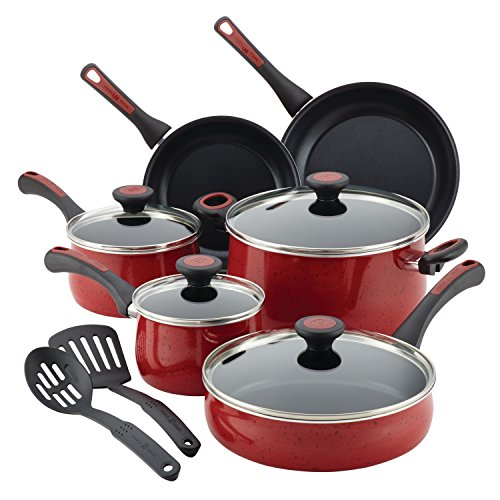 Paula Deen Riverbend Nonstick Cookware Pots and Pans Set, 12 Piece, Red Speckle