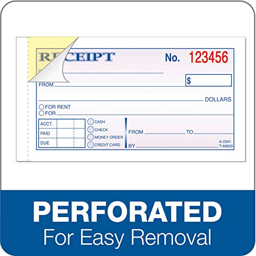 Adams Money and Rent Receipt, 2-3/4 x 5-3/8 Inches, 2-Parts, Carbonless, White/Canary, 50 Sets per Book (DC2501)