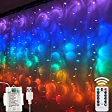 Window Curtain String Lights- 3M(H)*1.5M(W) USB Or Battery Operated 8 Modes with Remote & Timer Fairy Lights 200LED Indoor Outdoor Lights for Wedding Party Home Bedroom Wall (Multicolor)