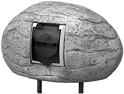 gartendekoparadies.de Dekoratives Gehäuse Stein für Stromanschluss Steckdose Stromabdeckung für Aussenbereich Steinguss frostfest