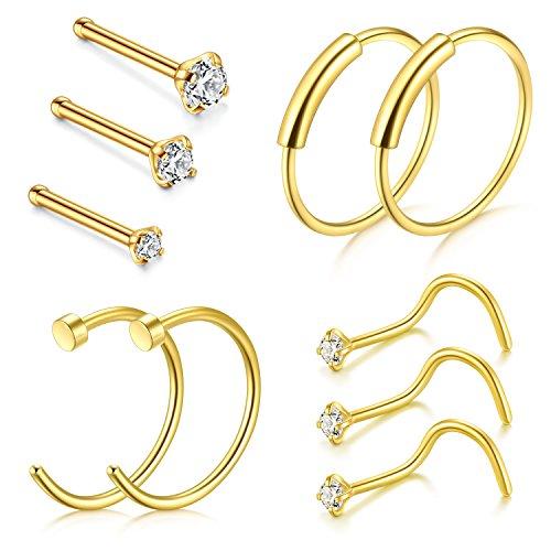 Zolure 22 Gauge Nose Hoop Ring Tornillo de Nariz Bone Studs Anillos Clicker Quirúrgico Piercing de Acero Set