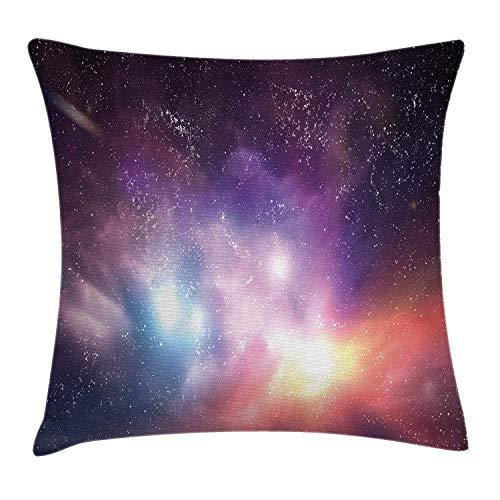 Funda de cojín de Galaxy con diseño de estrellas de cielo soñador del universo nebulosa constelación, funda de almohada decorativa cuadrada, color morado coral azul claro, tamaño: 50 x 50 cm