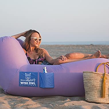 Wise Owl Outfitters Inflatable Lounger Air Hammock Sofa by Large Waterproof Pool or River Float - Indoor or Outdoor Adjustable Hangout Chair Seat for Camping - Lavender & Periwinkle