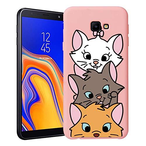 ZhuoFan Funda Samsung Galaxy J4 Plus, Cárcasa Silicona Rosa con Dibujos Diseño Suave Gel TPU Antigolpes de Protector Piel Case Cover Bumper Fundas para Movil Samsung Galaxy J4Plus, 3 Gato