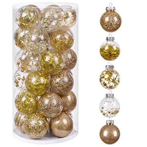 bestwishes 30Pcs Christmas Balls Ornaments, 60mm/2.36' Small Shatterproof Christmas Baubles for Xmas Christmas Tree, Hanging Ball for Holiday Wedding Party Decoration (Gold, 2.36' 30pcs)