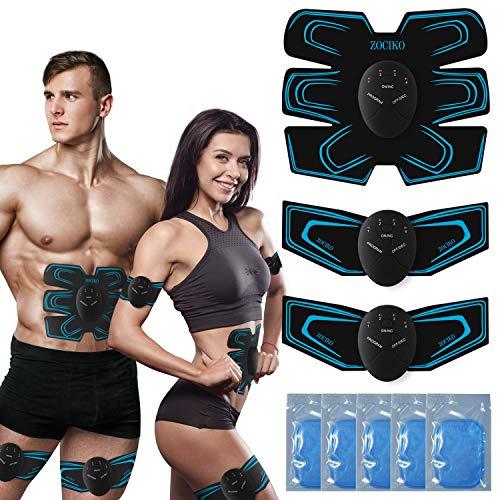 zociko Elettrostimolatore per Addominali EMS Stimolatore Muscolare Elettrostimolatore Addominale Trainer per Braccio/Waist/Glutei 6 modalità e 9 Livelli di Intensità ABS Stimulator per Uomo o Donna