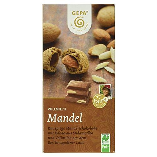 GEPA Bio Vollmilchschokolade mit Mandeln, 100 g