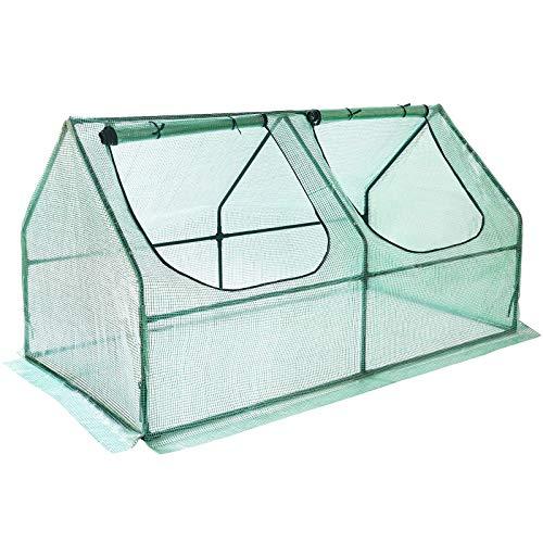 Yorbay Foliengewächshaus Frühbeet Gewächshaus für Tomaten Gemüse Pflanzen, mit UV-beständige Gitternetzfolie und Fernster für Garten zur Aufzucht, Spitzdach, niedrig, Grün, 180 x 90 x 90cm (LxBxH)