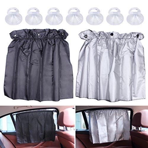 EFORCAR 2er Set Sonnenschutz Vorhänge, Einstellbar 52cm x 75cm Flexible Auto Sonnenschutz Vorhänge UV Proof Seitenfenster Tuch Vorhang Sonnenblende mit Saugnäpfen