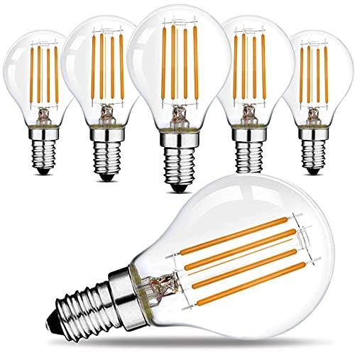Suncan E14 Filament LED-lamp G45 – E14 LED-lamp 360 lumen, warm wit 2700K, niet dimbaar, helder glas, AC 220V-240V – 6…