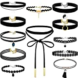 Choker Necklace for Women, Shynek 12 Pcs Black Choker Necklace Set Black Lace Tattoo Velvet Chokers for Women and Teen Girls