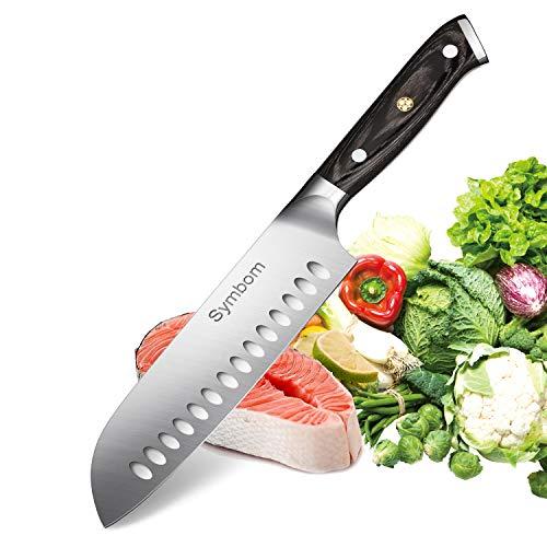 Cuchillo de cocina Symbom Santoku Cuchillo Cuchillo de chef japonés Cuchillo de sushi Cuchillo Santoku hueco de 7 pulgadas, afilado adicional con hoja anticorrosión y sin barniz