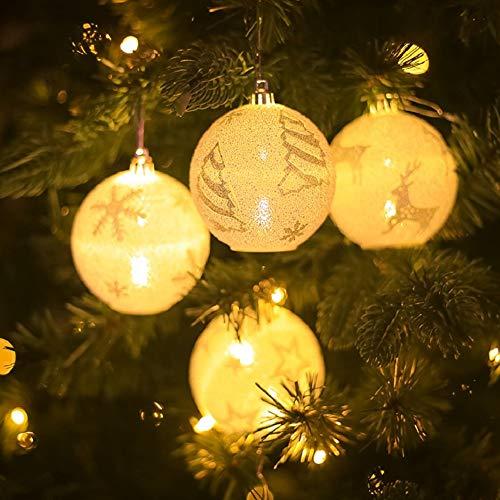 Foneso LED Lichterkette, LED Weihnachtsbeleuchtung für Urlaubspartys Innendekoration, LED Lichtball Weihnachtskugel für Weihnachten geeignet 4 Stück