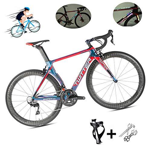 DUABOBAO Bici da Strada a 22 velocità / 700C Ultraleggera Giro d'Italia da Corsa in Materiale in Fibra di Carbonio 18K con segni Luminosi Riflettenti di Colore UV, Design a Linea Nascosta,Rosso,52CM