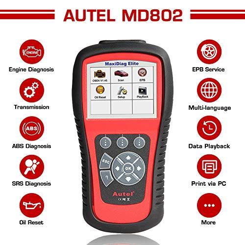 Autel MaxiDiag MD802 Escaner Coche OBD2 para Motor, SRS (Airbag) ABS EPB Frenos y Reseteo Luz Aviso Aceite